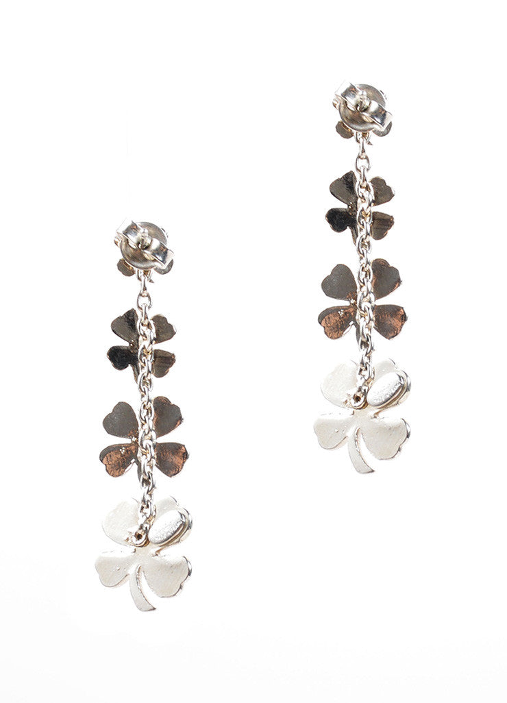 Chanel Silver Toned Four Leaf Clover Dangle Earrings Backview