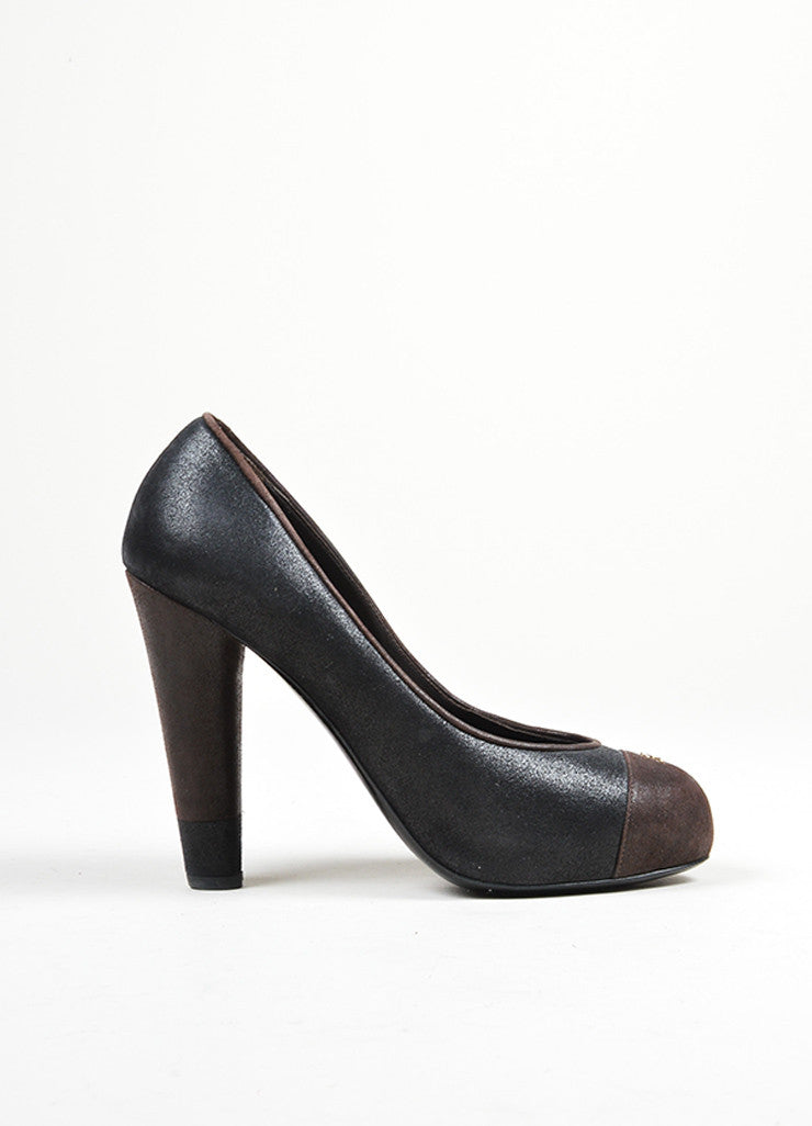 Black and Brown Chanel Suede Leather Color Block Platform 'CC' Cap Toe Pumps Sideview