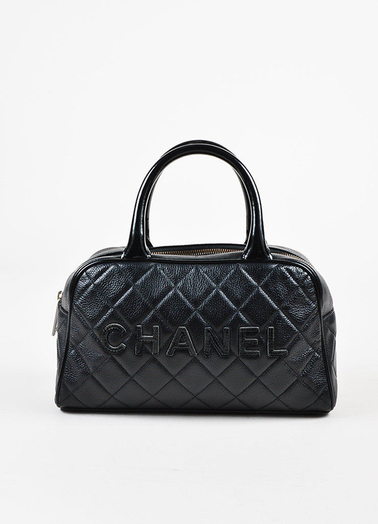 Chanel Black Leather Glossy Logo Detail and Top Handle Quilted Bowler Bag Frontview