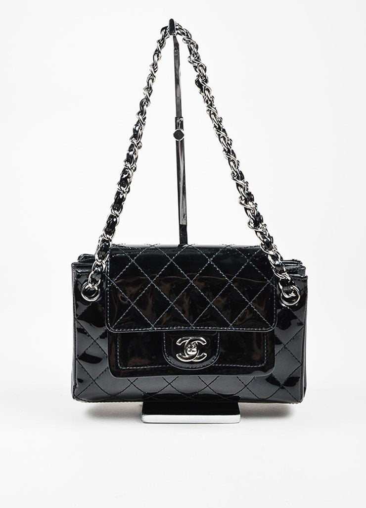 Black Chanel Patent Leather Quilted Accordian Chain Strap Bag Frontview