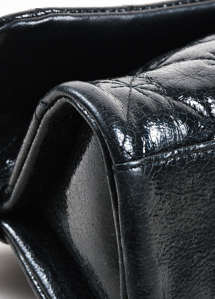Black Chanel Quilted Glazed Crackled Leather Mademoiselle Chain Strap Bag Detail