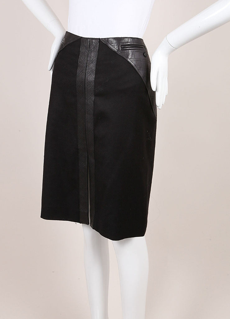 Chanel Black Stretch Wool and Cashmere Quilted Leather Trim Pencil Skirt Sideview