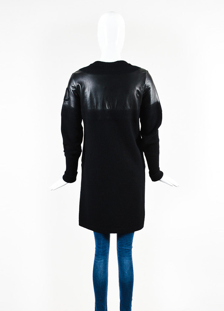 Chanel Black Wool and Lambskin Trim Gradient Blend 'CC' Patch Sweater Jacket Backview