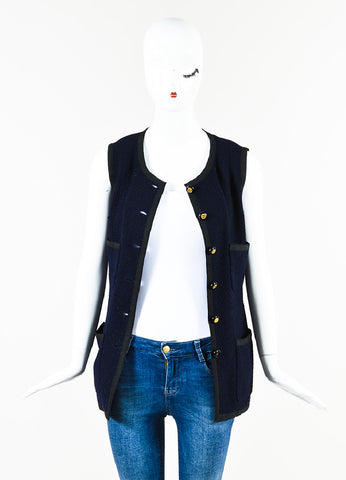 Chanel Navy Tweed Black Trim Four Pocket Button Up Vest Frontview