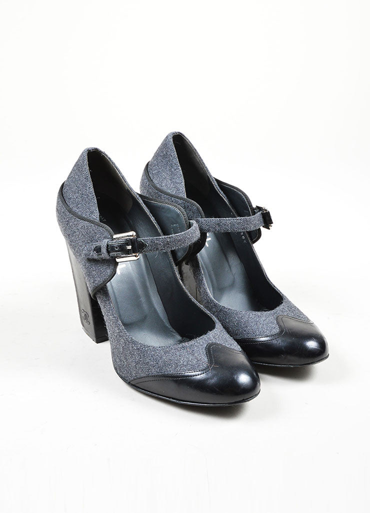 Charcoal Grey Chanel Woolen Leather Trim Mary Jane Pump Front