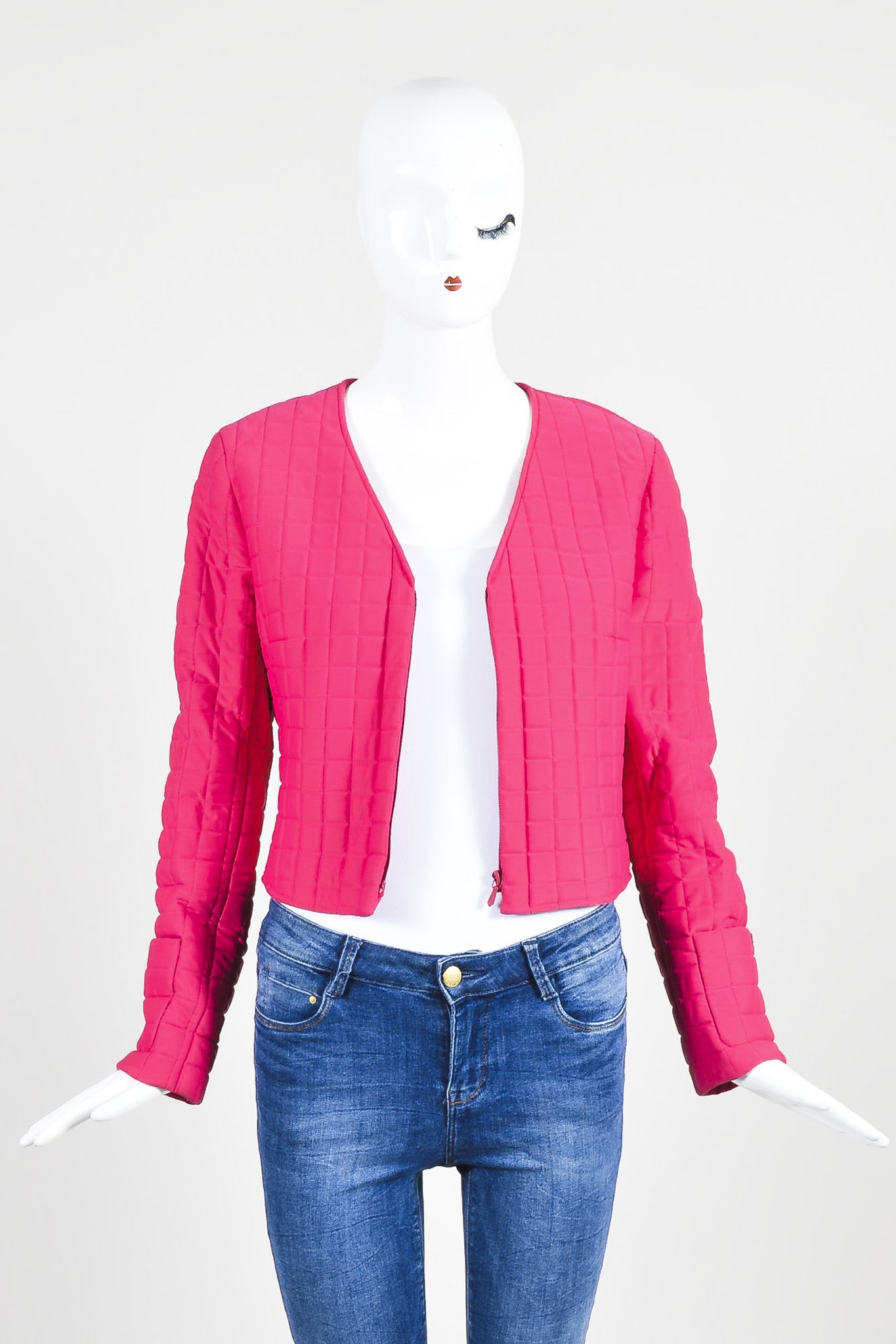 Hot Pink Chanel Padded Nylon Quilted Jacket Frontview