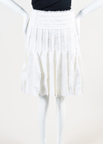 Chanel White Cotton and Wool Blend Tweed Strip Piece Pleated Skirt Frontview