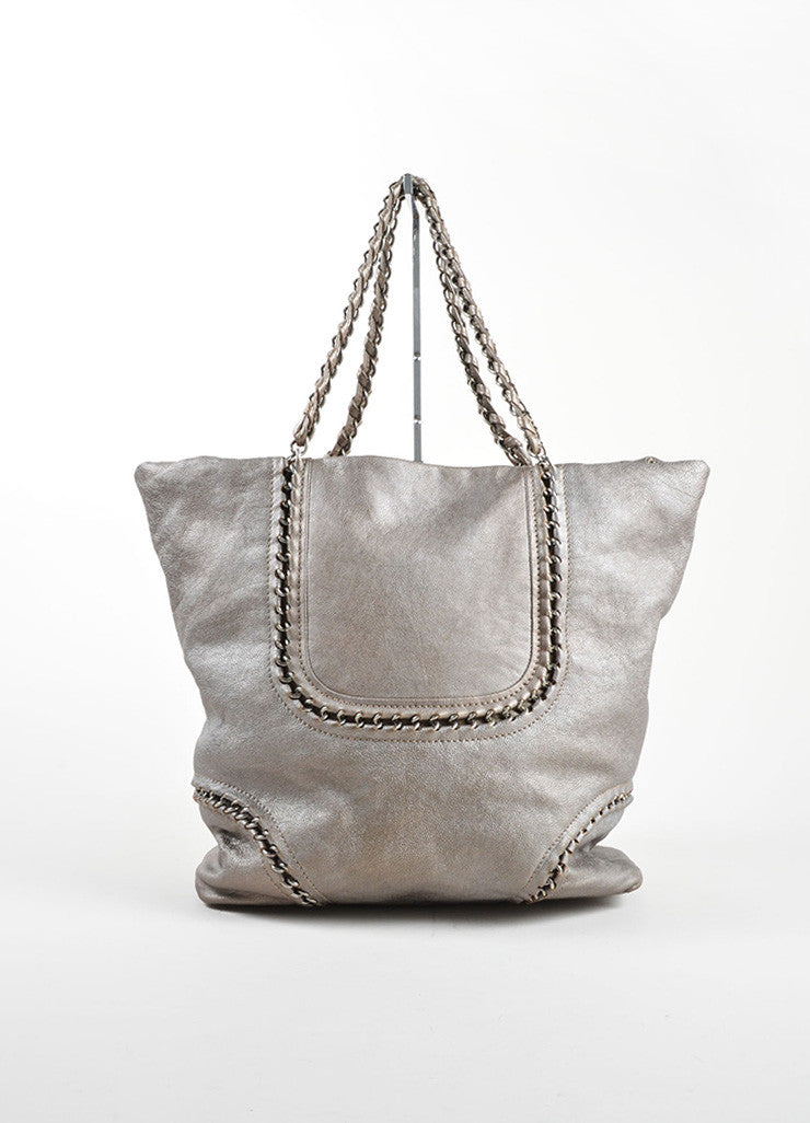 "Chanel Pewter Grey Caviar Leather ""Modern"" Chain ""CC"" Tote Bag Frontview"