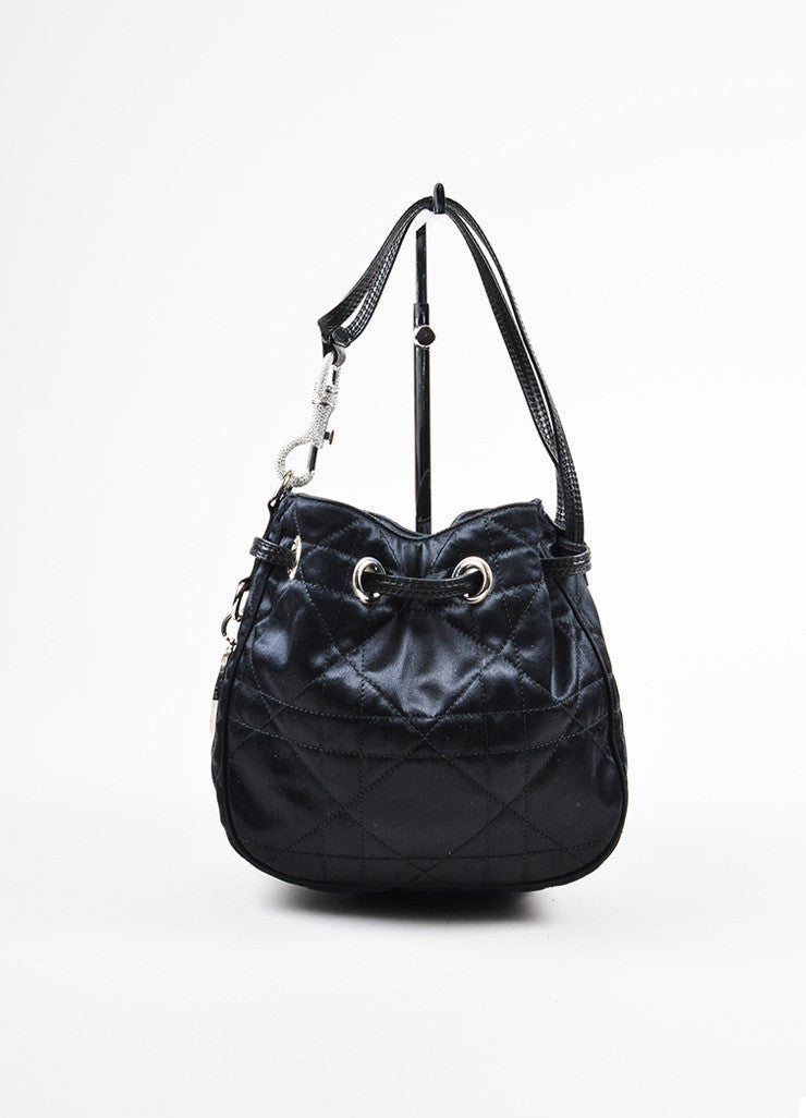 "Black Christian Dior Satin and Leather Quilted ""Cannage Evening"" Bucket Bag Frontview"