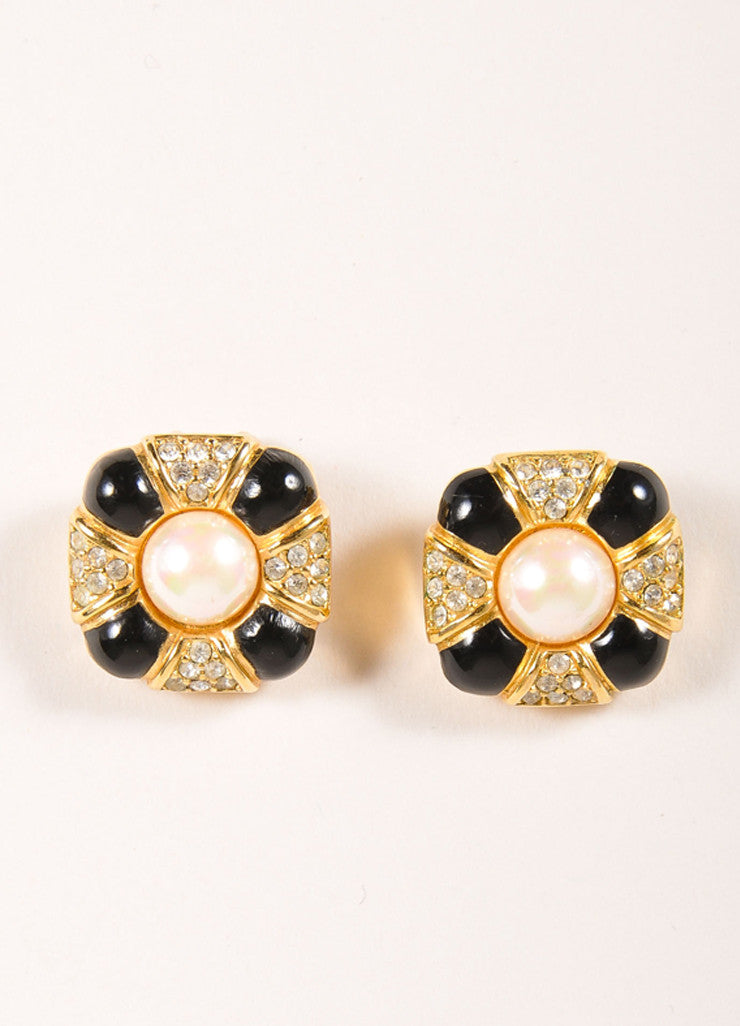 Christian Dior Gold Toned and Black Rhinestone Faux Pearl Clip On Earrings Frontview