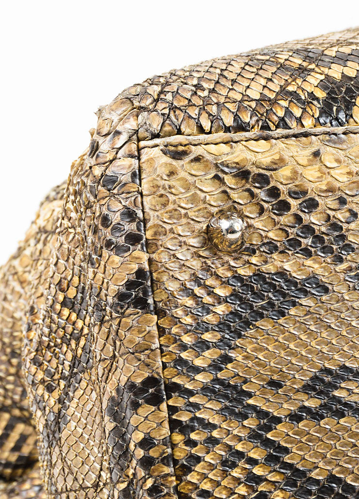Christian Dior Beige Python Cannage Stitch Tote Bag Detail
