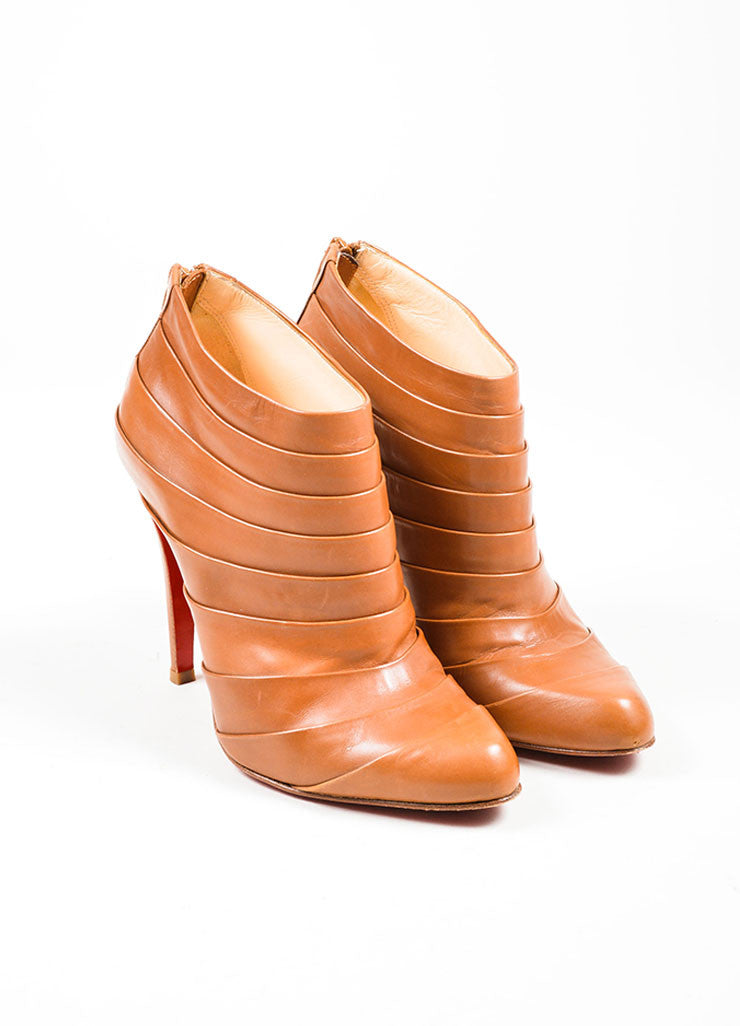 "Camel Christian Louboutin ""Orniron 100"" Pleated Booties Front"