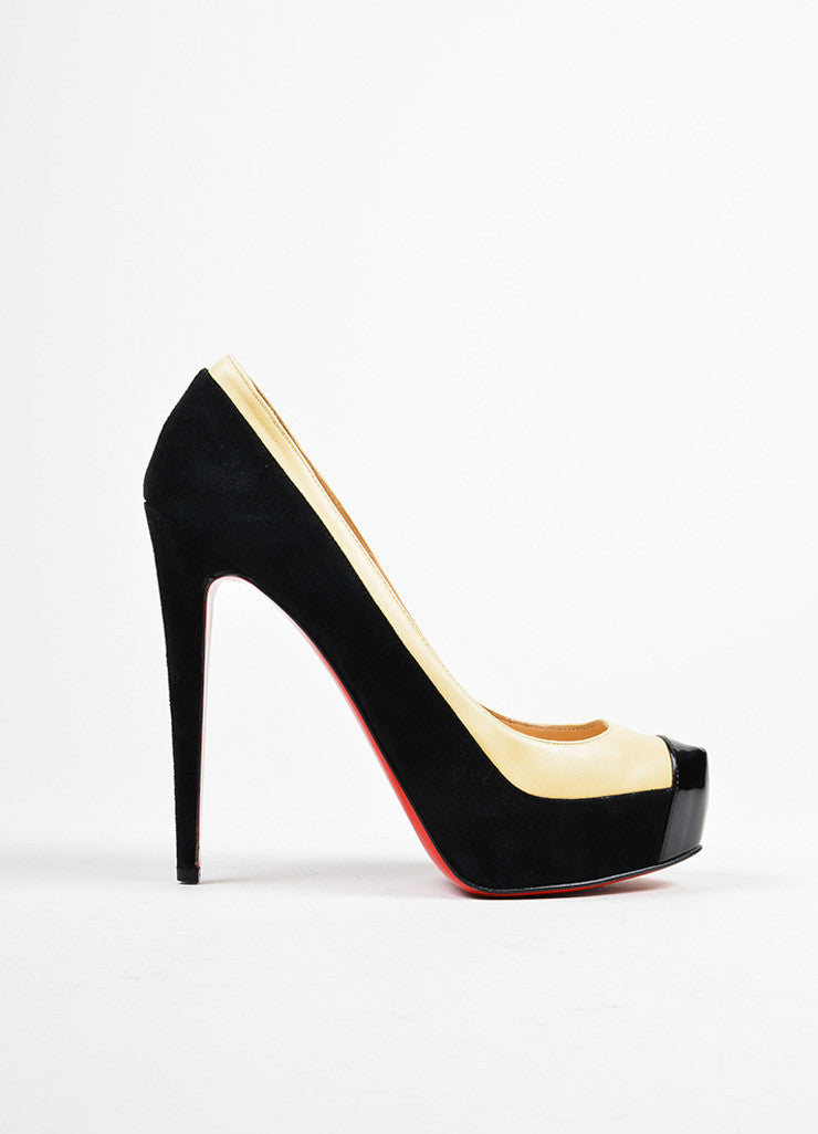 "Black and Nude Christian Louboutin Leather Suede ""Mago"" Platform Pumps Sideview"