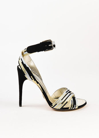 Dolce & Gabbana Black, Metallic Gold, and Silver Suede Trim Sandals Sideview