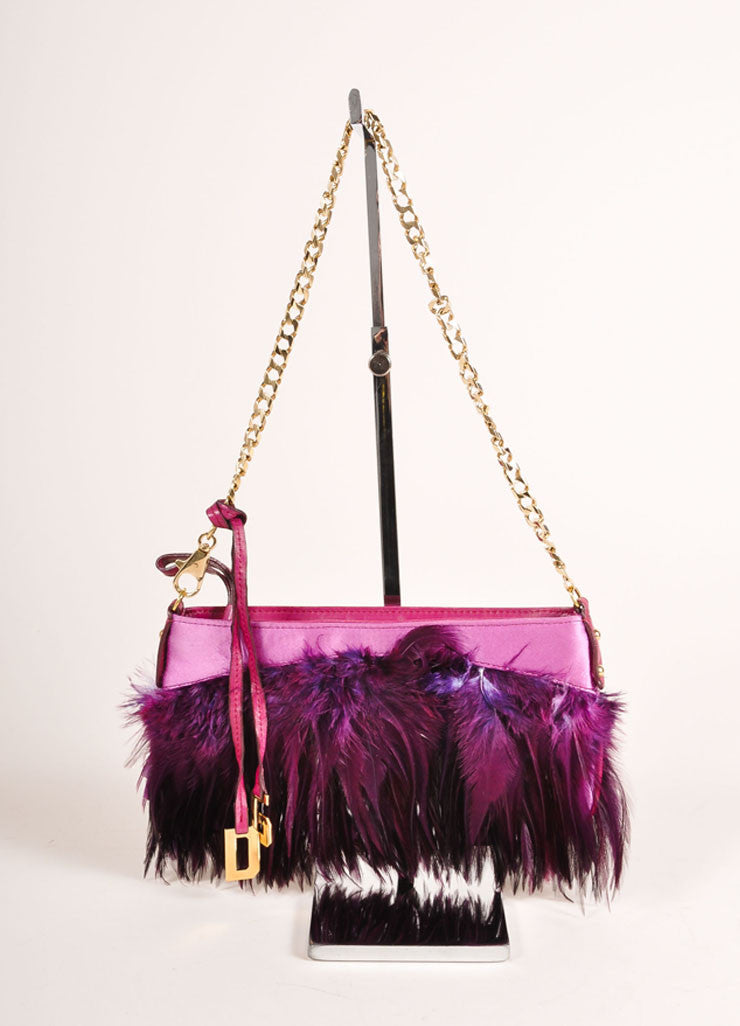 Dolce & Gabbana Purple and Gold Toned Feather and Satin Chain Strap 2 Way Clutch Bag Frontview