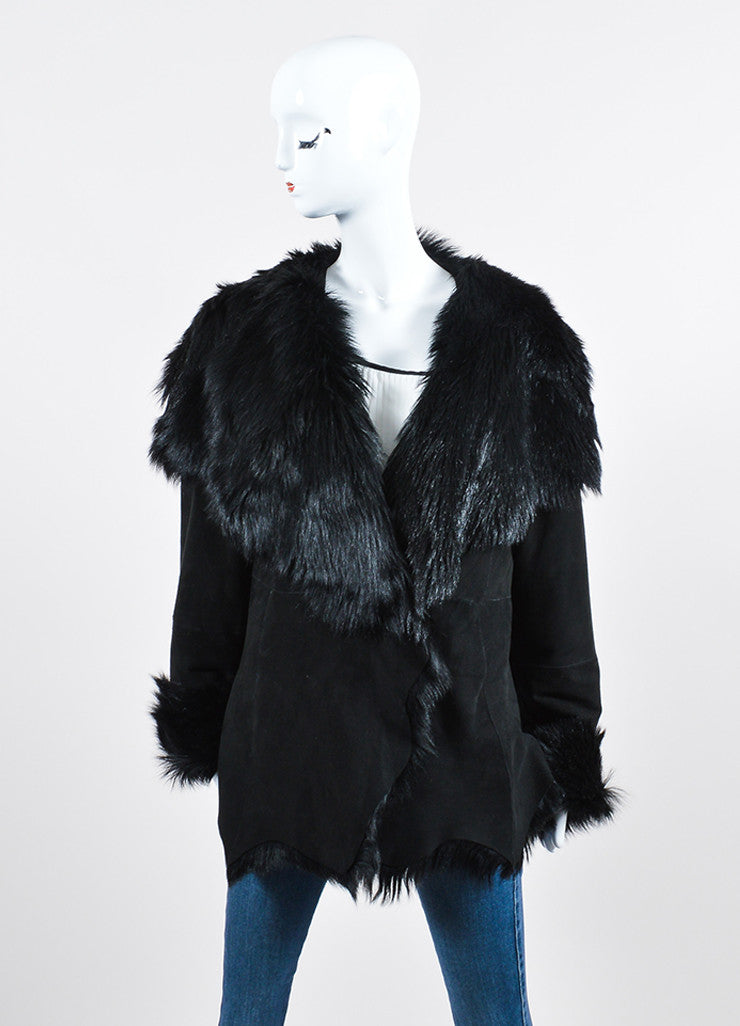 Black Donna Karan Suede Fur Lined Coat Frontview 2