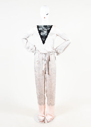 Emilio Pucci Pink, Grey, and Black Silk Lace Panel Pattern Long Sleeve Jumpsuit Frontview