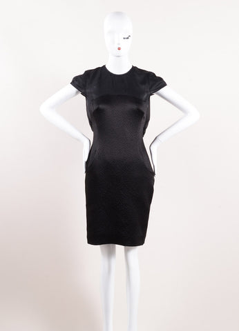 Erdem Black Silk Textured Draped Cap Sleeve Tailored Dress Frontview