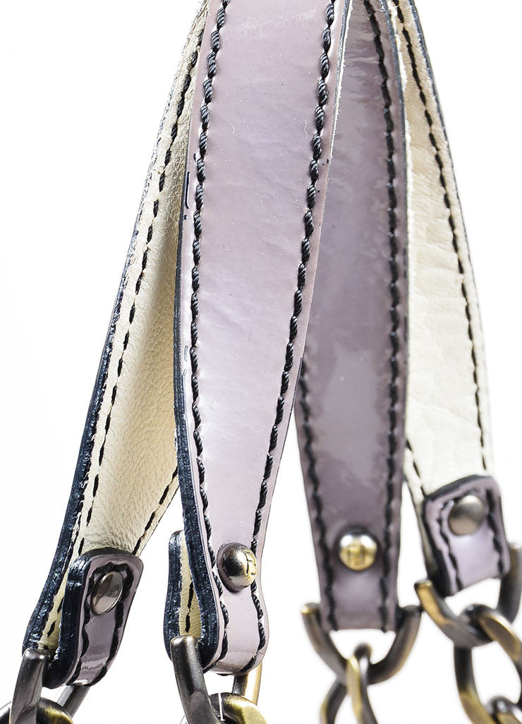 Fendi Cream, Grey, and Purple Leather Floral Embellished 'B' Shoulder Bag Detail 2