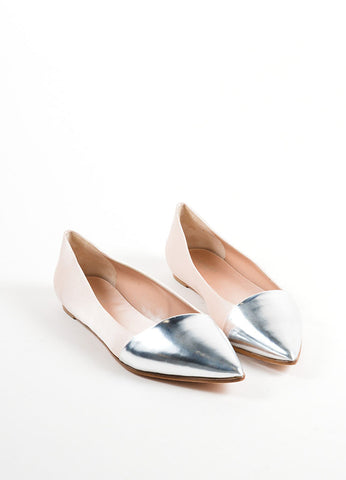 Giambattista Valli Beige Satin and Silver Pointed Cap Toe Flats Frontview