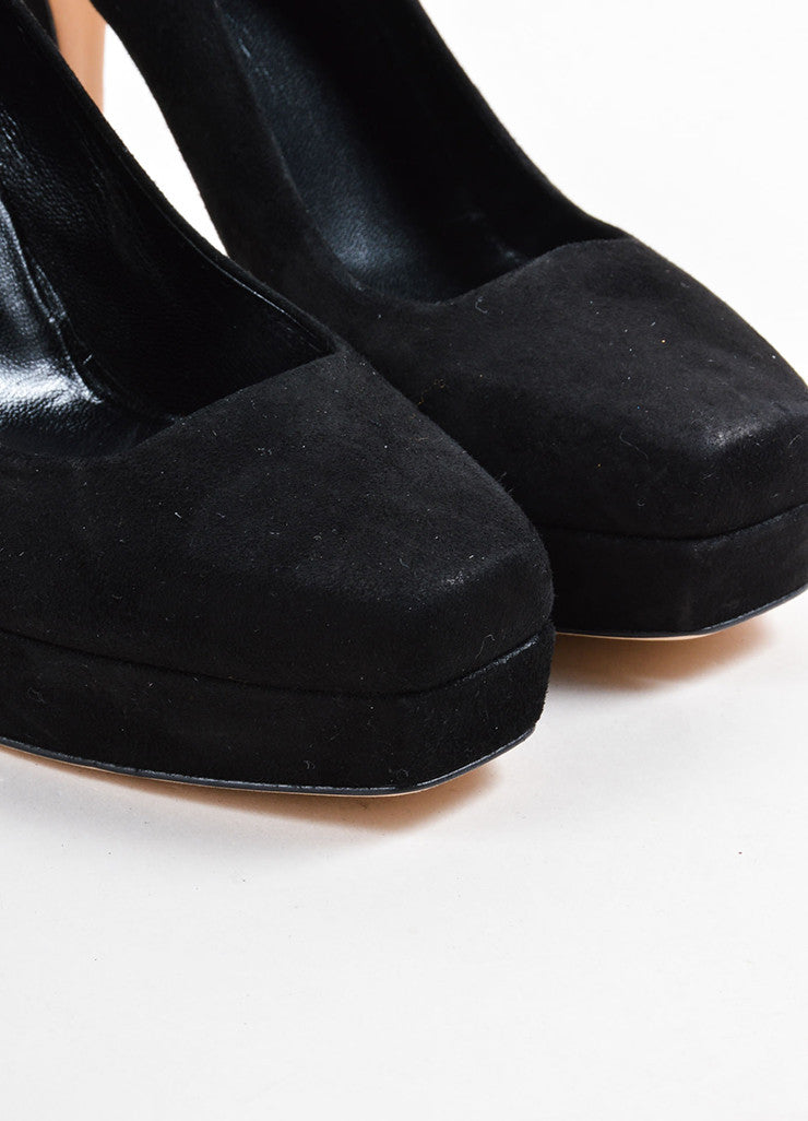 Gucci Black Suede Square Toe Platform Pumps Detail