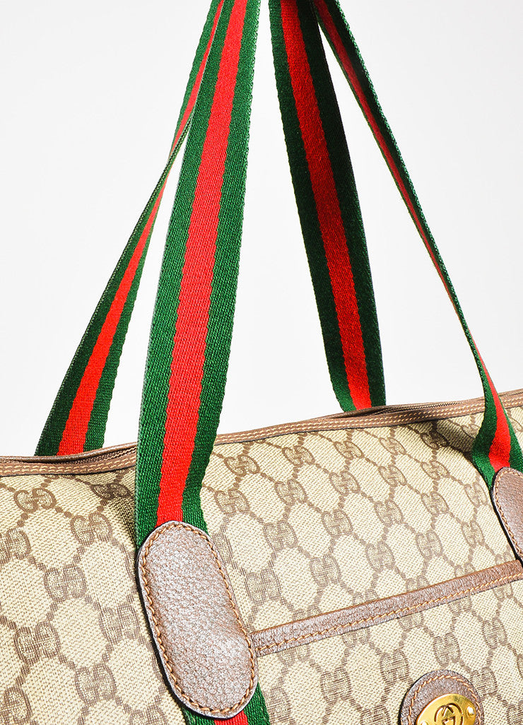 Gucci Brown, Red, and Green Monogram Coated Canvas Striped Zip Tote Bag Detail 3