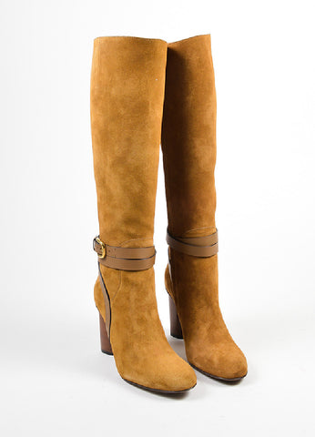 "Camel Brown Gucci Suede High Heeled ""Abigail"" Knee High Boots Frontview"