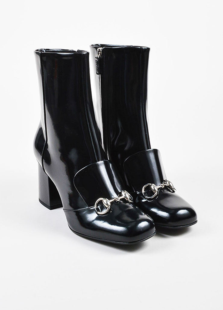 "Black Gucci Patent Leather Horse Bit ""Regent"" Mid Calf Boots Front"