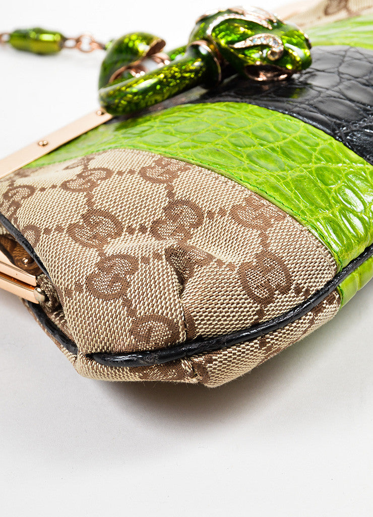 Brown, Green, and Black Tom Ford for Gucci Monogram Canvas Crocodile Snake Head Bag Detail