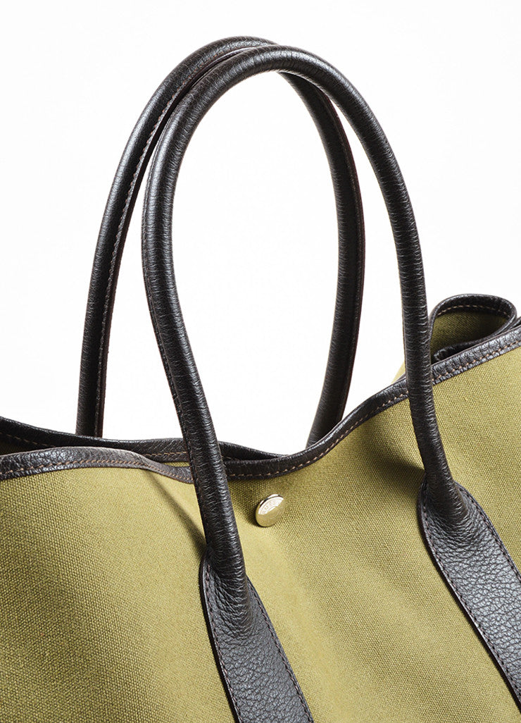 "Hermes Olive Green Canvas Brown Leather Trim ""Garden Party MM"" Tote Bag"