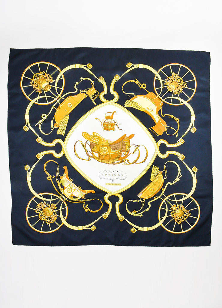 "Black, Gold and White Hermes Silk ""Springs"" Carriage Print 90cm Scarf Front 2"
