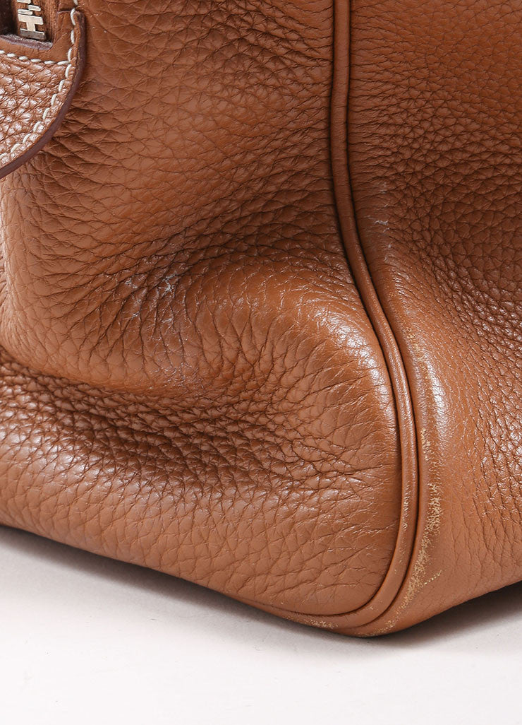 "Hermes Brown Clemence Leather ""Victoria"" Satchel Bag Detail 6"