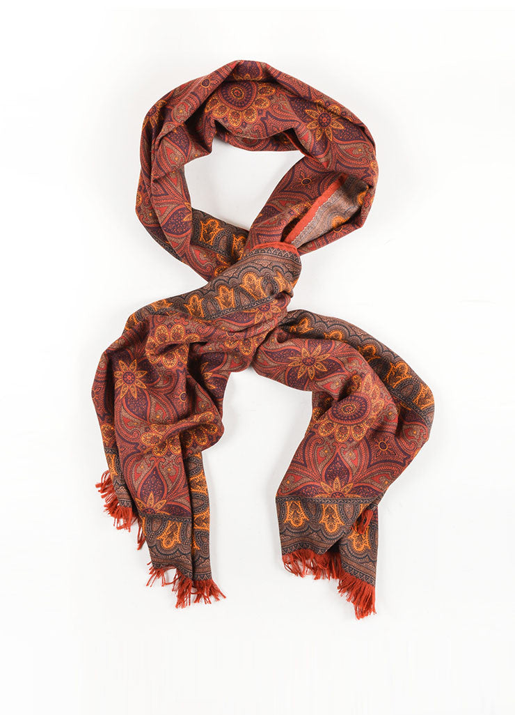 Hermes Rust Orange Cashmere and Silk Blend Printed Fringe Trim Scarf Frontview