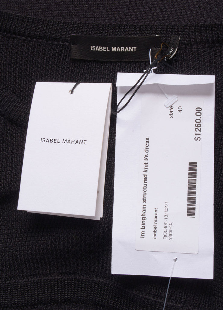 "Isabel Marant New With Tags Charcoal Grey Wool Knit ""Bingham"" Dress Brand"