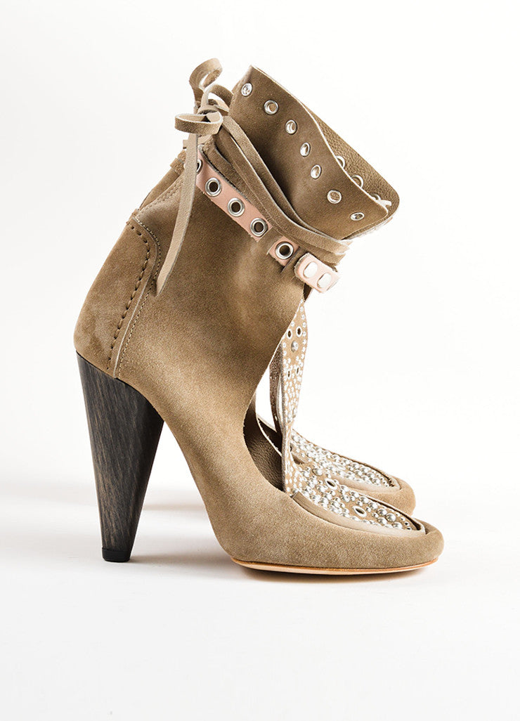 Isabel Marant Grey Suede Leather Studded Moccasin Ankle Heels Sideview
