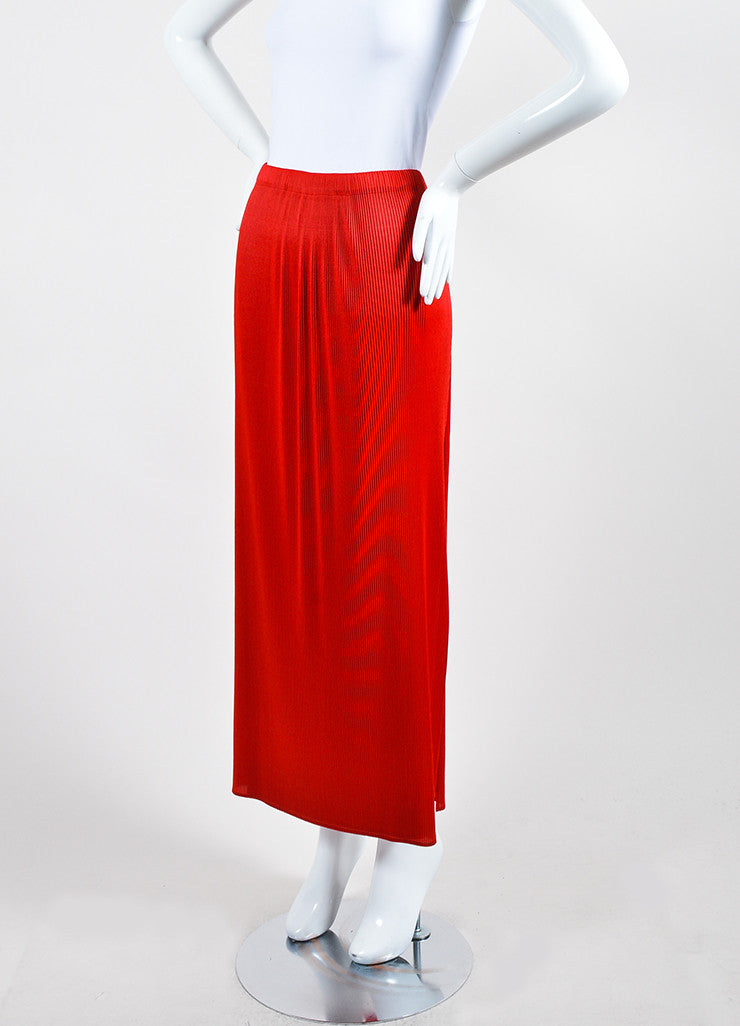 Scarlet Red Issey Miyake Micro Pleated Split Overlay Maxi Skirt Sideview