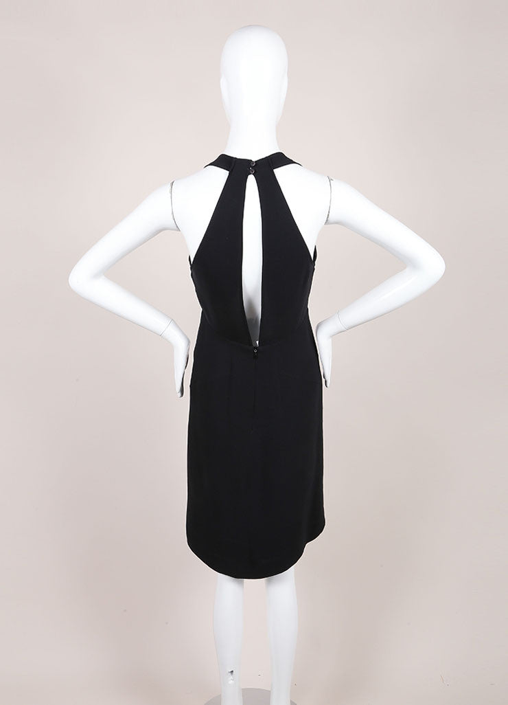Jil Sander Black Silk Open Back Sleeveless Dress Backview