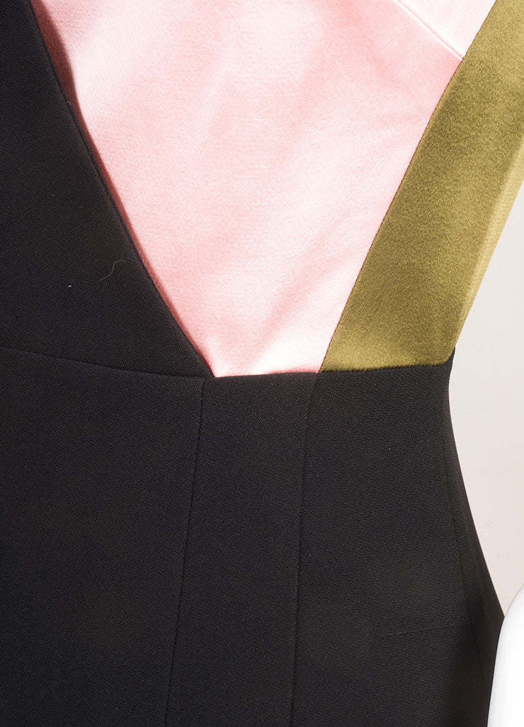 "Jonathan Saunders New With Tags Black, Green, and Pink Satin and Crepe ""Adeline"" Dress Detail"