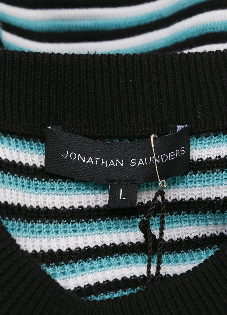 "Jonathan Saunders New With Tags Aqua, Black, and White Stripe Wool ""Pye"" Long Sleeve Sweater Brand"