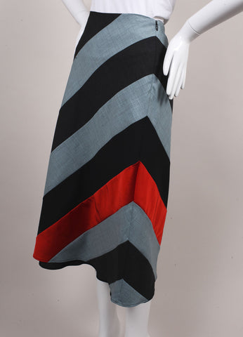 "Jonathan Saunders New With Tags Multicolor Contrast Panel ""Amelia"" Bias Skirt Sideview"