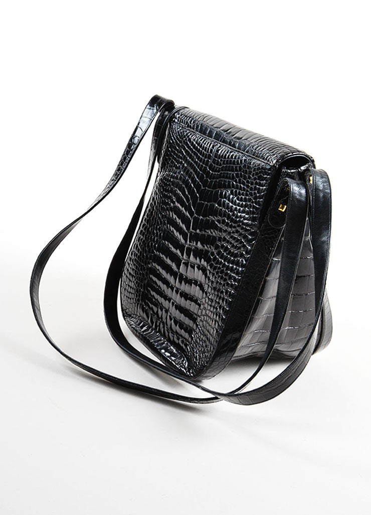 Judith Leiber Black Crocodile Patent Leather Double Strap Flap Shoulder Bag Sideview