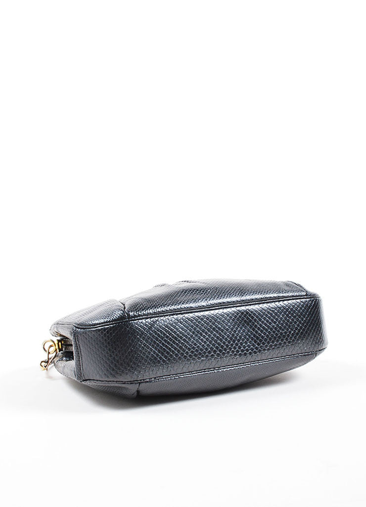 Judith Leiber Black Reptile Leather Glass Bead Embellished Evening Clutch Bag Bottom View