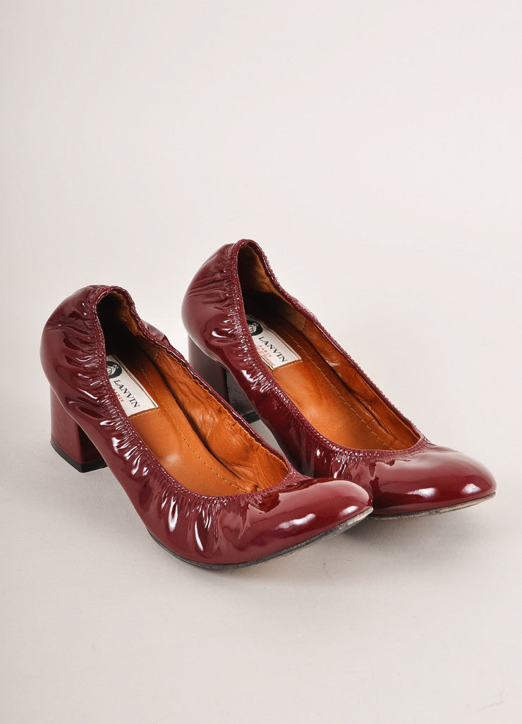 Lanvin Deep Red Patent Leather Elastic Block Heels Frontview