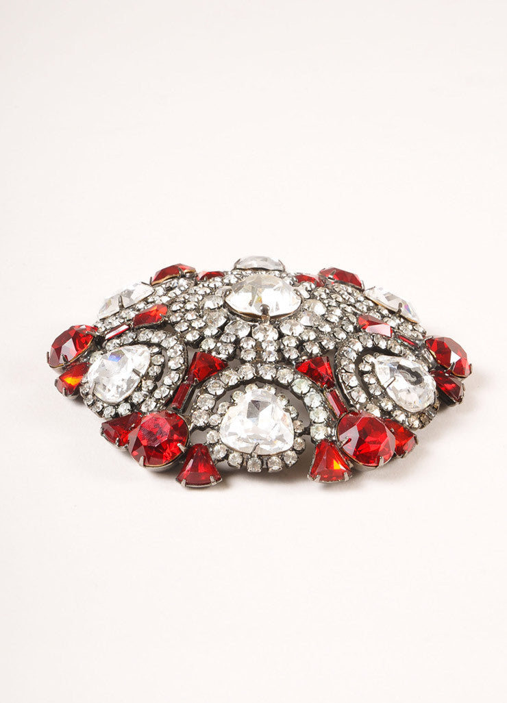 Lawrence Vrba Chrome Toned and Red Rhinestone Oversized Circle Pin Brooch Sideview