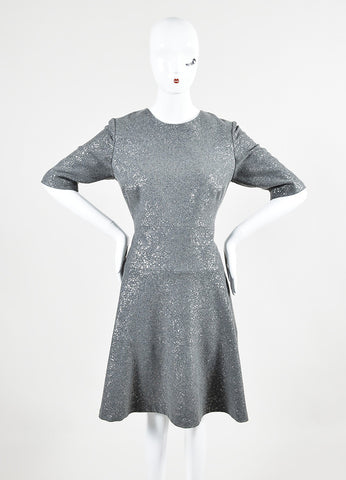 Lela Rose Grey Silver Wool Metallic Spot Pleated Skater Dress Frontview