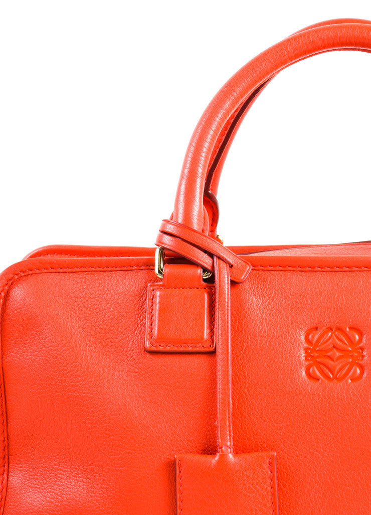 "Loewe Red Leather Limited Edition ""Amazona 36"" Satchel Bag Detail 2"