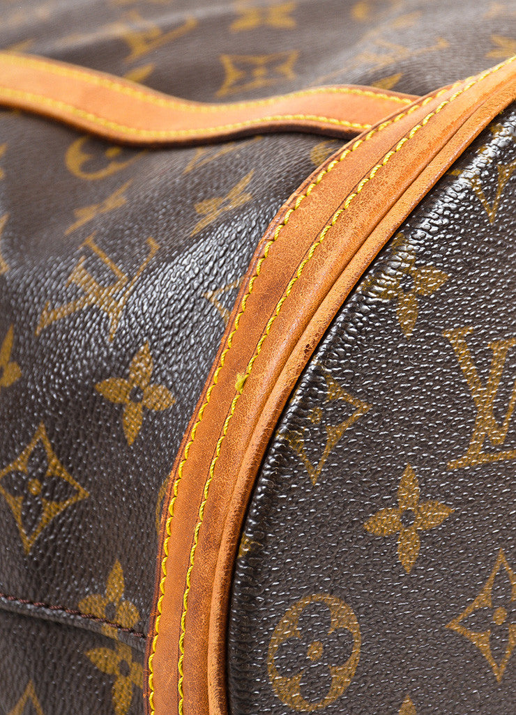 "Louis Vuitton Brown and Tan Monogram Coated Canvas ""Bucket"" Shoulder Bag Detail"