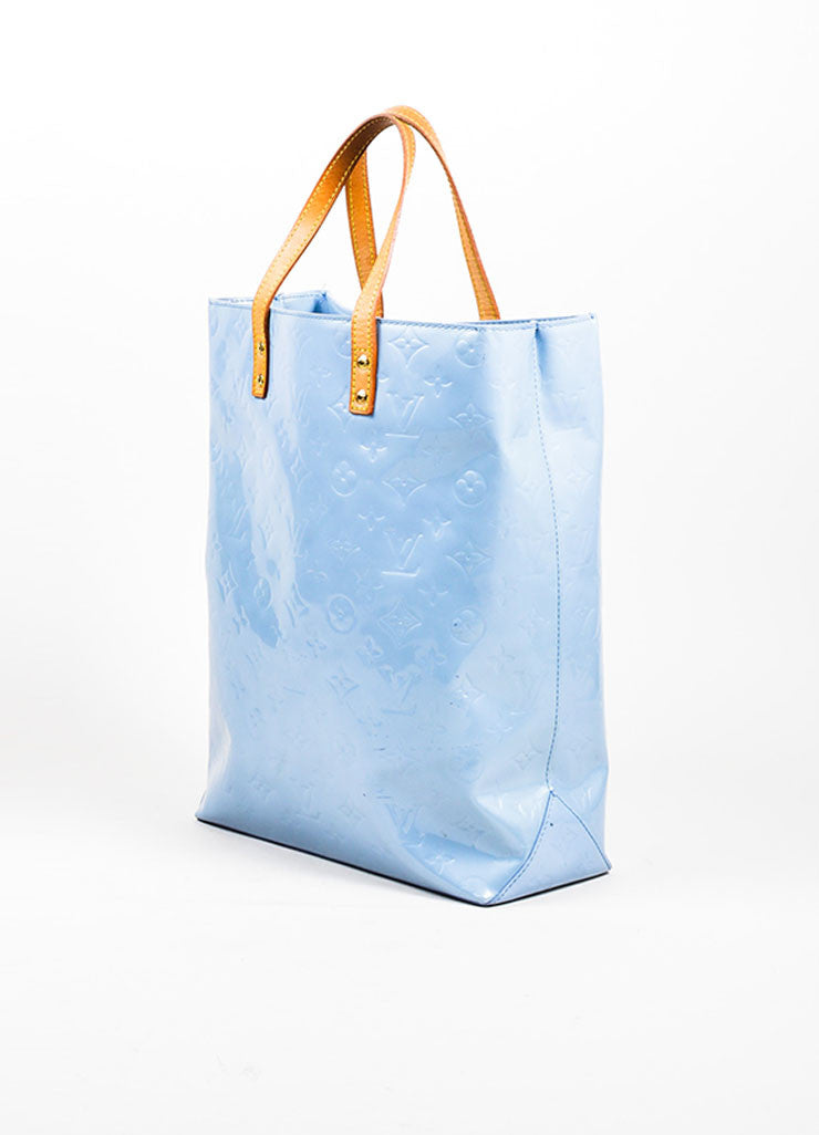 "Pale Blue Louis Vuitton Monogram Vernis ""Reade MM"" Tote Bag Sideview"