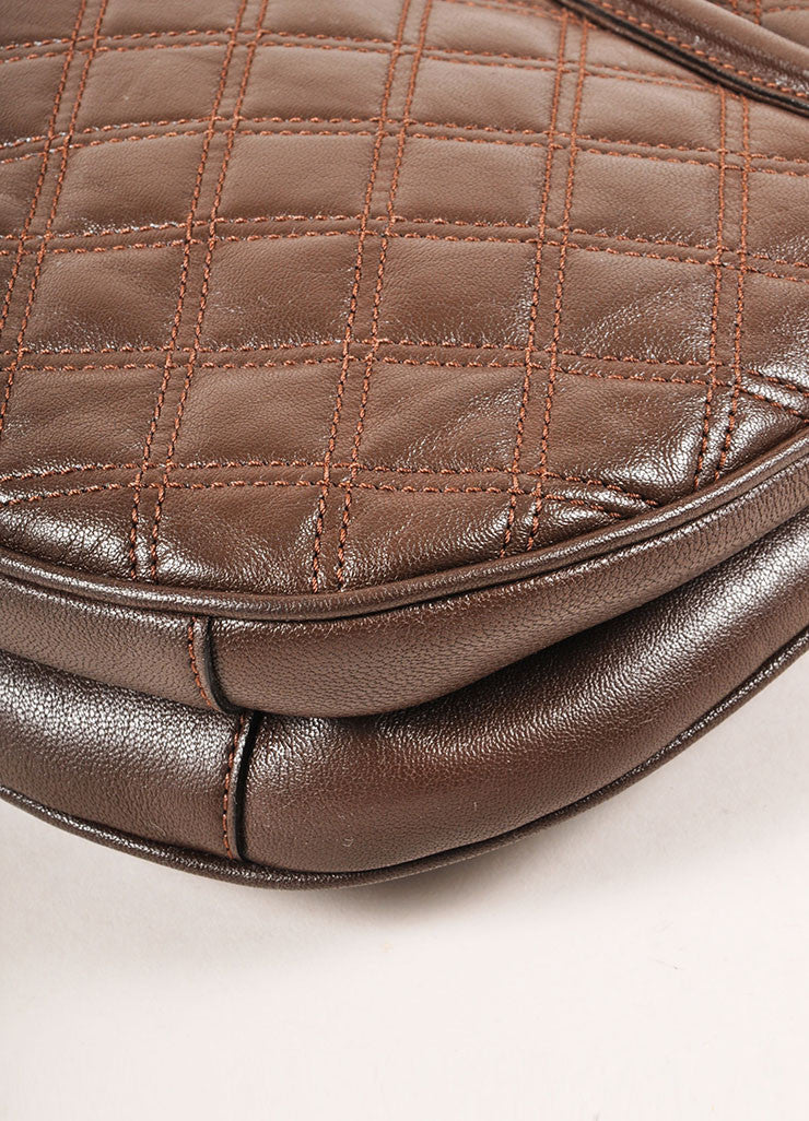 Marc Jacobs Brown and Gold Toned Leather Quilted Flap Crossbody Bag Detail