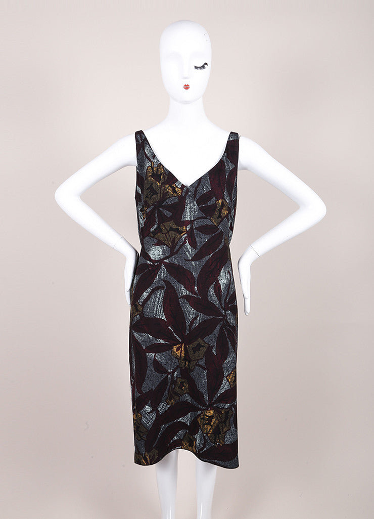 Marc Jacobs New With Tags Multicolor Crepe Graphic Leaf Print Sleeveless Sheath Dress Frontview